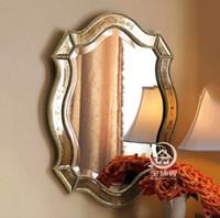 антикварные декоративные зеркала оптовых-Античный готовое стекло настенное тщеславие зеркало декоративное зеркальное зеркало консоли искусства M-F2097