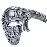trajes venecianos para hombres al por mayor-2019 New Arrive Men Costume Vintage Steampunk media cara fiesta de Halloween máscara de la mascarada para hombre disfraces venecianos carnaval