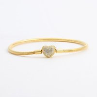 gelbe plattensätze großhandel-18 Karat Gelbgold plattiert CZ Diamant Herz Armbänder Original Box Set für Pandora 925 Silber Schlangenkette Armband für Frauen Hochzeit Schmuck
