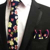 taobao modelleri toptan satış-Üreticiler stok yeni çiçek moda pamuk kravat pamuk kare havlu kravat cep havlu takımı Taobao patlama modelleri 6cm kravat