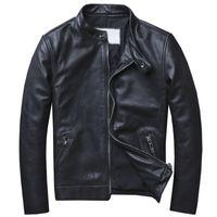 estilo europeo tallas grandes al por mayor-Biker Mens Genuine Leather Autos Chaqueta de gamuza Escudo Motocycle Male Real Cow Coat Coat Plus Size 5XL estilo europeo A577