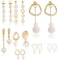natürliche perlen anhänger großhandel-designer ohrringe luxus designer schmuck frauen ohrringe natürliche perle anhänger ohrring weibliches temperament einfache mode herz ohrring