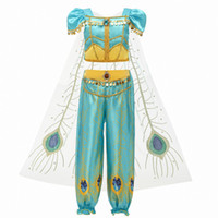 Wholesale Movie Girls Kid Summer Jasmine Princess Dance Dress Children Aladdin Halloween Party Performance Costume Show Top Skirt Pant COS Cosplay Set