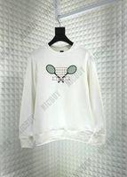 tennisschläger marken großhandel-mode herbst kleidung designer marke herren tennisschläger brief stickerei hoodies pullover kapuze schwarz baumwolle casual sweatshirt