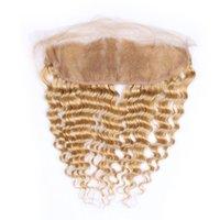 27 cheveux bruns bruns achat en gros de-Vague Profonde Vierge Brésilienne Miel Blonde Cheveux Naturels Dentelle Fermeture Frontale Densité 130 # 27 Oreille Brun Clair À L'oreille Pleine Dentelle Frontaux