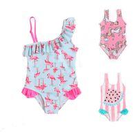 Wholesale lovely swimwear for sale - Kids Swimsuits Bodysuit Unicorn Flamingo Print Cute Lovely Baby girl swimwear Bathing suit Skew Collar One piece Export Summer