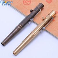 canetas frisadas venda por atacado-Luxury Ball Pen metal Bola Caneta Esferográfica Pressionado Rod esferográfica Copper arma ferrolho artigos de papelaria para presentes da escola P515