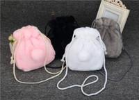 Wholesale cute black hand bags resale online - Plush Rabbit Tail Hand Bag Lovely Girls Fur cute Mini Shoulder Bags cute cartoon kids plush handbag LJJV254
