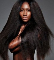 ingrosso parrucche danneggiate di pizzo dritto-Parrucca diritta crespa Glueless Parrucche per capelli umani anteriori in pizzo Parrucca intera in pizzo brasiliano per capelli umani