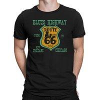 ingrosso autostrada blu-Maglietta da uomo BLUES HIGHWAY Route 66 Sign Music Trumpet Guitar Novità