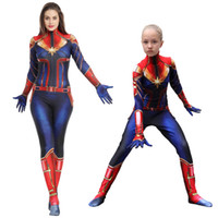 Wholesale women costume classic online - The avengers Captain Marvel Carol Danvers Ms Marvel Costumes Catsuit Tracksuit cosplay D toy Printed slim rompers jumpsuit clothes AAA1917
