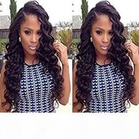 Wholesale brazilian long human hair wigs resale online - 360 Deep Wave Lace Frontal Wigs Long Curly Brazilian Human Hair for Afro American Women Glueless Pre Plucked with Baby Hair