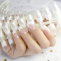 ingrosso chiodi falsi coperti chiari chiari-Comerci 10 set Crystal Clear Bianco francese falsa falsa Trasparente Nails Full Cover Quadrato Testa Manicure Unghie finte ongle