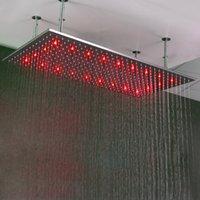 edelstahl gebürstet großhandel-Große Duschkopf Decke Regen SUS304 gebürstetem Niederschlag 500 * 1000mm Wasser Power Duschköpfe mit Dusche Arme LED Licht Duschen