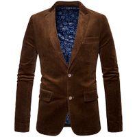 ternos de veludo marrom homens venda por atacado-Nova marca de moda masculina inverno terno de negócio jaqueta casaco estilo retro slim fit veludo blazer homens casual cotovelo design preto marrom