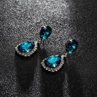 jóias exclusivas para senhoras venda por atacado-Moda Rhinestone Gota Brinco Mulher de Cristal Gota de Água de Ouro Único Dangle Brinco Lady Partido Jóias Presente Festival TTA1303