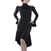 ingrosso usura da ballo di zebra-2019 New Latin Dance Dress Women Sexy Waltz Tang Performance Abiti manica lunga Split Ballroom Wear personalizzato DL3513
