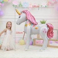 3 boyutlu temalar toptan satış-Oyuncaklar Unicorn Balon Parti Süslemeleri Malzemeleri 3D Büyük Unicornio Yürüyüş Hayvan Folyo Balonlar Kızlar Doğum Günü Tema Parti Dekoru 4908 Şekeri