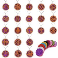 Wholesale expressions flowers for sale - Group buy Circular Flower Expression Lucky tree Pattern Wood Locket Essential Oil Diffuser Steel Chain Necklace Aromatherapy Locket Magnetial With Pad