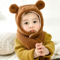 Wholesale baby boy winter cap designs for sale - Group buy 2019 Kids Winter Warm Hat And Scarf Child Short Plush Inlayer Hat Set Baby Ear Protection Cap Girl Boy Cartoon Design MZ8387