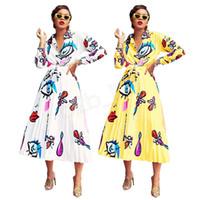 maxi damen anzüge großhandel-Frauen-Hemd gefaltet lange Kleid Set Elegent Big Eyes Lip Printed Damen Bluse Rock Zweiteiler Outfits Langarm LJJA2739-111
