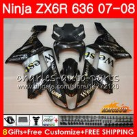 zx6r carenados del oeste al por mayor-Cuerpo para KAWASAKI NINJA balck west hot ZX 636 600 ZX 6R 6 R 600CC 07 08 Kit 34NO.25 ZX600 ZX-636 ZX636 ZX6R 07 08 ZX-6R 2007 2008 Carenados