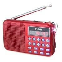 ingrosso stereo a luce rossa-T508 Mini portatile LED Luce Stereo Radio FM Lettore musicale MP3 Altoparlante TF USB, rosso