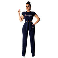 Wholesale loose legged yoga pants for sale - Group buy Champions Letter Tracksuit Women Bow Tie T Shirts Wide Leg Loose Pants piece Summer Outfit Sport Yoga Gym Clothes Set New A3147
