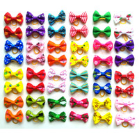 Wholesale hair accessories products resale online - Cute Puppy Dog Small Bowknot Hair Bows with Rubber Bands Hair Accessories Bow Pet Grooming Products