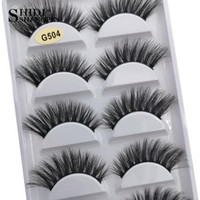 Wholesale lash extensions kits resale online - SHIDISHANGPIN pairs Mink Eyelashes D Natural False Eyelashes Mink Lashes Soft Eyelash Extension Makeup Kit Cilios