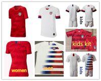 miúdos de futebol dos eua venda por atacado-2019 2020 EUA PULISIC Camisa de Futebol 18/19 mulheres homens crianças kit DEMPSEY BRADLEY ALTIDORE MADEIRA América camisa de Futebol dos Estados Unidos camisa