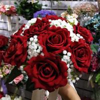 el buketi kırmızı gül toptan satış-Kırmızı Gül Düğün Buket Güzel Düğün Aksesuarları Düğün Çiçekleri Gelin Buketleri el çiçekleri tutarak 2019 Güzel