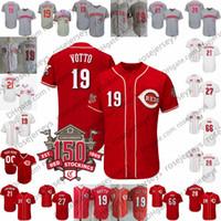 ingrosso scooter rosso-Custom 2019 Reds 150th Jersey Cincinnati # 27 Trevor Bauer 19 Joey Votto 15 Nick Senzel 3 Scooter Gennett 7 Eugenio Suarez Grigio Bianco