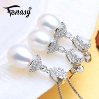 ensemble de pendentifs bijoux de perles achat en gros de-Perle d'eau douce naturelle FENASY Parures 925 collier en argent sterling pour des ensembles de bijoux femmes mariage avec Pendants d'oreilles