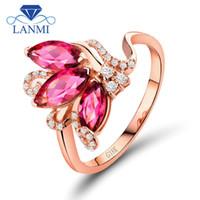 buenos anillos de diamantes al por mayor-Marquesa Rosa Anillos de Turmalina Diamante Natural 18 k Oro Rosa Anillo de Compromiso Buena Joyería de Piedras Preciosas Sr00133 Y19052301
