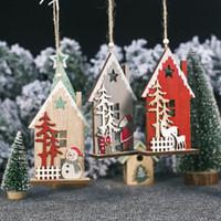 Wholesale santa claus paintings resale online - New Christmas Desk Wooden Cabin Decoration Wood Painted Santa Claus Creative Hollow Cabin Christmas Tree Pendant CM Xmas