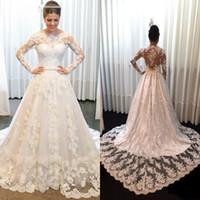 Wholesale custom plus size wedding dresses for sale - Vintage Lace Applique Wedding Dresses Bateau Neck Long Sleeves Court Train Backless Wedding Dress Bridal Gowns vestidos de novia