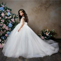 fcefa5abe 2019 New Design Tulle Little Flower Girls Dresses Court Train Long Illusion  Sleeves First Communion Dress Girl Pageant Dress Custom Made. Supplier:  tian1979