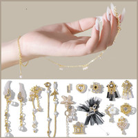 Wholesale crystal rhinestones wing charms resale online - Alloy Zircon Nail Art Decoration Luxury Rhinestones Crystal Dangle Chains Tassel Heart Wing Flower Charm Lace Jewelry Ornaments