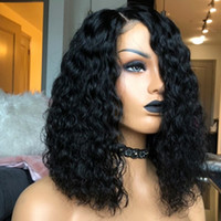 Wholesale side part black wig for sale - Group buy Side Parting Black Short Kinky Curly Synthetic Lace Front Wigs Hand Tied Glueless Full Wig Density Heat Resistant Fiber For Black Women