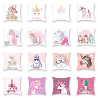 Wholesale cars 43 online - 43 Designs Cute Unicorn Cushion Cover Cartoon Animal Pink Color Square Car Waist Pillow Case Home Decoration New Year Gift sxE1