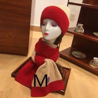 soğuk eşarp toptan satış-Moda Tasarımcısı Kış Cap Eşarp Erkek Kadın Lüks Şapka Eşarp Suit Markalı Womens Soğuk Şapkalar Atkılar 3 Renk Seçenekleri Yüksek Kaliteli