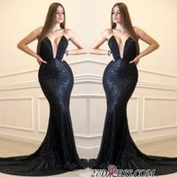 Wholesale tencel fiber resale online - Abendkleider Black Mermaid Prom Dresses Long Cheap Sparkly Sequined Formal Evening Gowns Sexy See Through Bust Cocktail Party Ball Dress