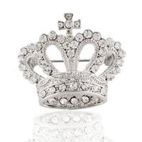 diamante rhinestone cz venda por atacado-Atacado-Tiara Broche de vestuário decorativo de cristal CZ Diamond Jewlery Wedding Bridal brilhante Rhinestone Silver Crown Broche Pin For Women