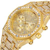 relogios exclusivos venda por atacado-Presente do casal Iced Out Relógios Mulheres Hip Hop Bling Diamante Mens Relógio de Negócios Casal de Aço Inoxidável Relógio de Pulso para Os Amantes Único