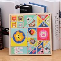ingrosso giochi di forma del bambino-1Set Bambino Early Learning Toys Popolare Puzzle di legno Toy Cartoon Animal Shape Matching Cognitive Game