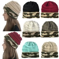 Wholesale wool camouflage hats for sale - Group buy Winter Women Knitted Hat Warm camouflage patchwork Wool Hat Ladies Men unisex Skull Beanie Solid Female Outdoor Caps LJJA2774