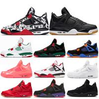 sıcak tek ayakkabı toptan satış-4 4 s Erkek Basketbol Ayakkabıları Sıcak Yumruk Singles Gün Dövme Yıldırım Pizzeria Getirdi Yeşil Glow Siyah Kedi Spor Sneakers 7-13