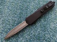 Wholesale dual gear for sale - Group buy 9 inch Damascus Knife Combat A07 dual action automatic cmaping Knives Zinc Aluminum Handle EDC survival Tactical gear Knife J4M Q