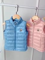 ingrosso giacca invernale-Giubbotto per ragazze da ragazzo autunno inverno Giubbotto in piumino d'anatra bianco chiaro Gilet in cotone per bambini Gilet per bambini Fodera in tinta unita monopetto